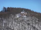 SGV-Hütte vom Biggedamm aus gesehen
