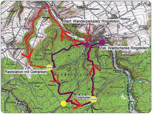 Die Wanderstrecken: rot = 18 km; violett = 12 km .jpg