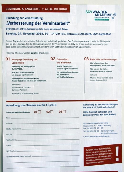 Seminare zur Verbesserung der Vereinsarbeit am 24.11.18