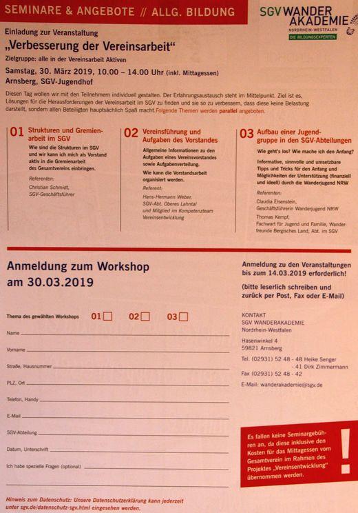 Jetzt anmelden: Workshops für alle in der Vereinsarbeit Aktiven