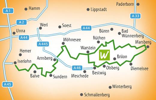 Karte Sauerland-Route