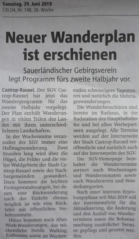 Ruhr Nachrichten, 29. Juni 2019