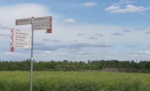 Wegweiser am Stadtrand von Bochum