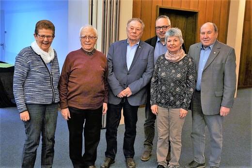 29.02.2020: Von links Ruth Wollmeiner, Ehrenvorsitzender Willi Müller, Adolf Müller, Christof Lück, Heidrun Walter, Heribert Müller.