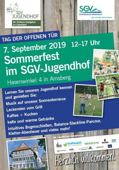 Flyer Sommerfest SGV-Jugendhof 2019